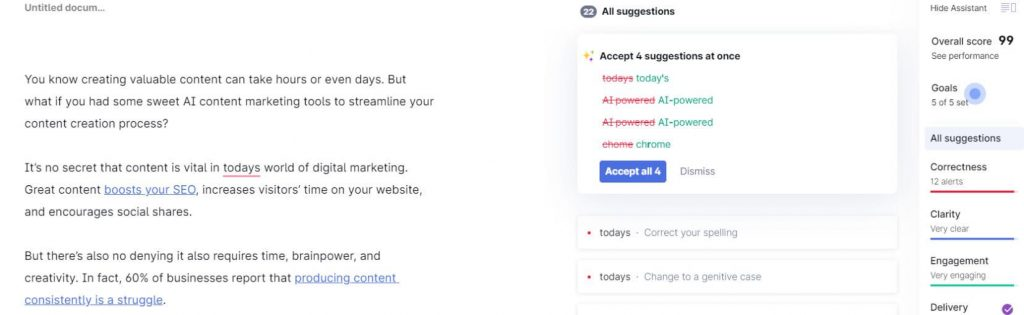 Grammarly example - AI content writing article